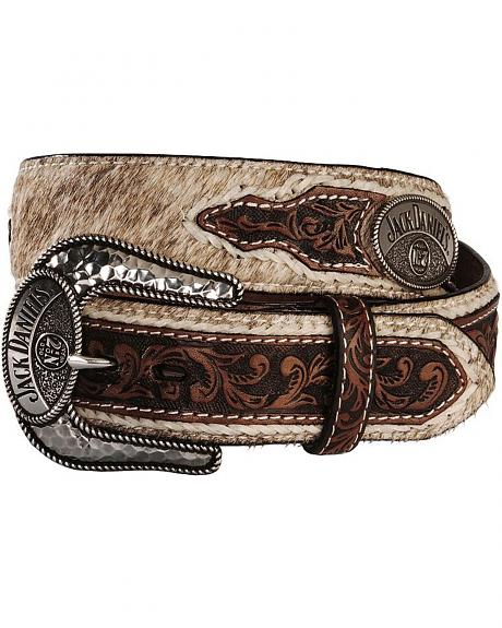 Jack Daniel's Hair-On Hide Logo Concho Leather Belt