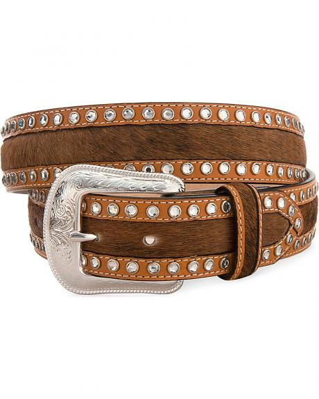 Brindle Hair-On-Hide & Rhinestone Western Belt