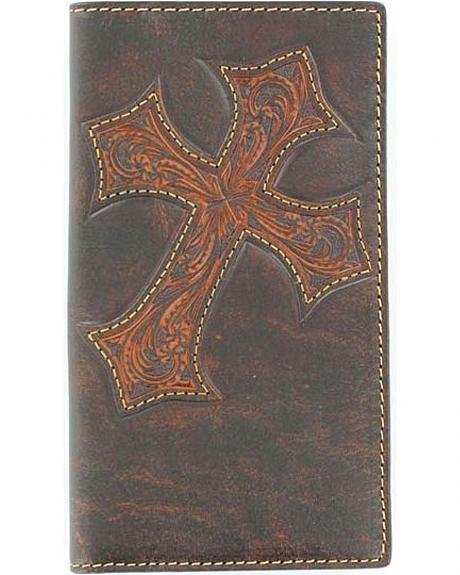 Justin Distressed Cross Rodeo Checkbook Wallet