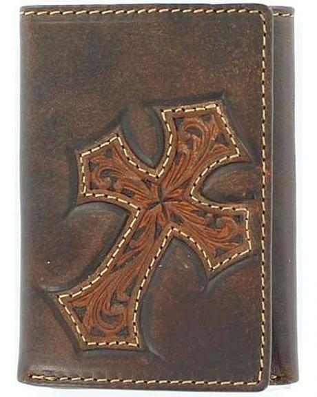 Justin Distressed Cross Tri-Fold Wallet