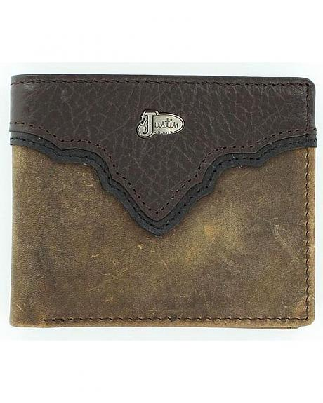 Justin Crazy Horse Leather Overlay Bi-Fold Wallet