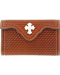 Leather Basketweave & Cross Concho Electronics Case at Sheplers