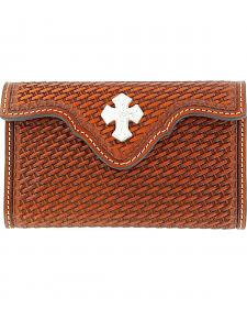 Nocona Leather Basketweave & Cross Concho Phone Case
