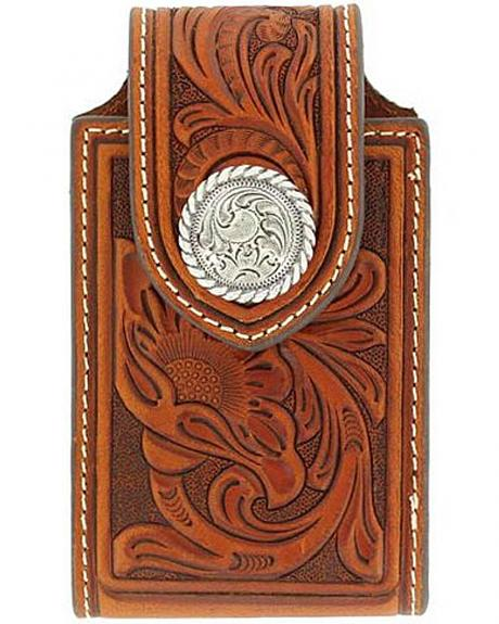 Nocona Tooled Leather Electronics Case