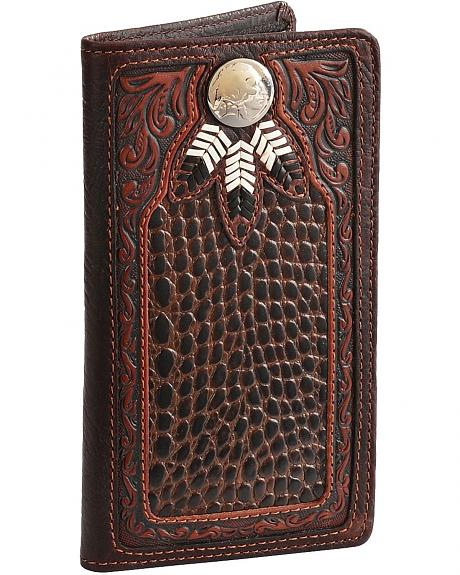 Silver Creek Chief Three Feathers Leather Checkbook
