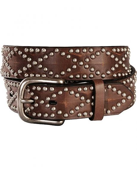 Nocona Diamond-Shaped Nailhead Western Belt