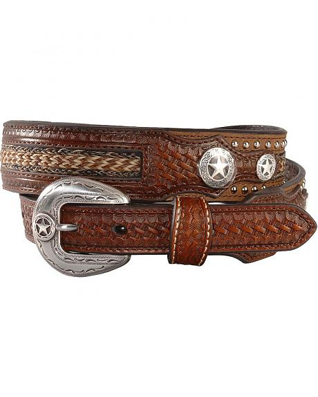 Nocona Woven and Hand Tooled Leather Concho Belt