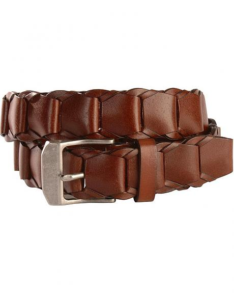 Nocona Brown Loop Braid Leather Belt