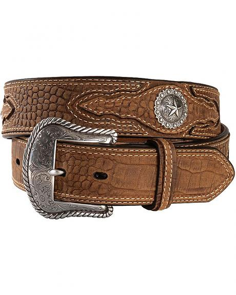 Nocona Croc Print Leather Concho Belt