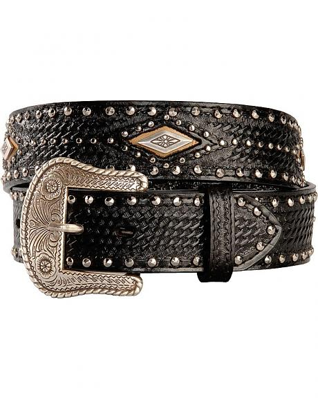 Nocona Fancy Rhinestud Leather Western Belt
