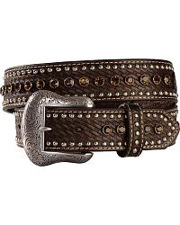 Nocona Rhinestone Studded Leather Belt at Sheplers