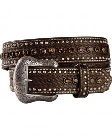 Nocona Rhinestone Studded Leather Belt