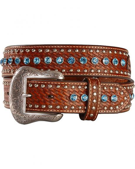Blue Rhinestone Studded Hand Tooled Leather Belt