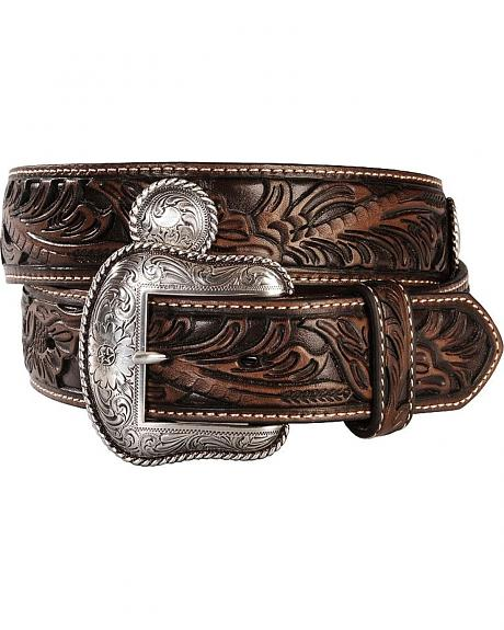 Nocona Fancy Hand Tooled & Concho Leather Belt