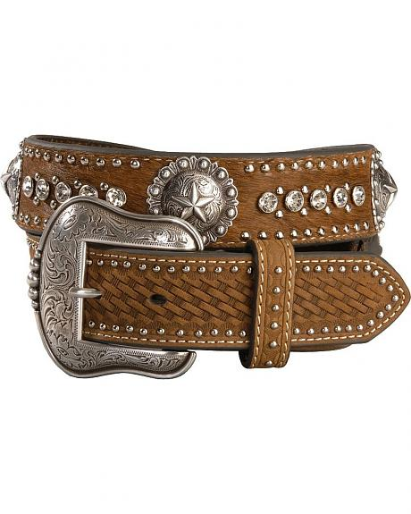 Hair on Hide Concho and Rhinestone Embellished Belt