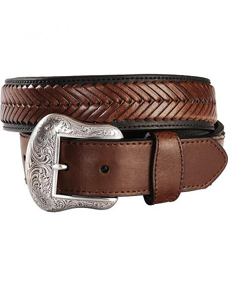 Nocona Black Leather with Brown Lacing Western Belt