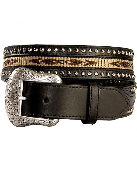 Nocona Western Woven Inlay & Studded Leather Belt