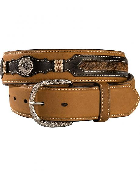 Nocona Hair on Hide Overlay Leather Belt