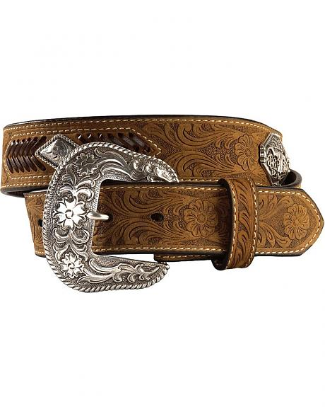 Nocona Diamond Concho & Tooled Leather Belt