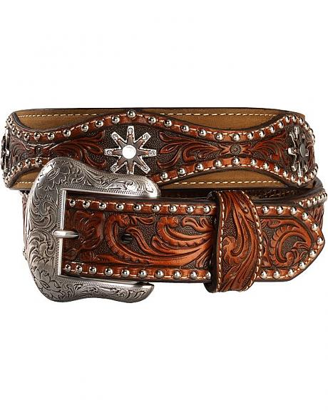 Contrasting Hand Tooled Leather Overlay and Concho Belt