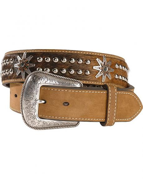 Hair on Hide Studded Concho Leather Belt