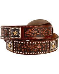 Tony Lama Ol' Texan Steerhead Buckle Leather Belt at Sheplers