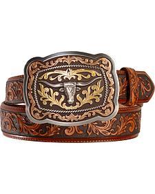 Tony Lama San Antonio Steerhead Buckle Tooled Leather Belt - Reg & Big