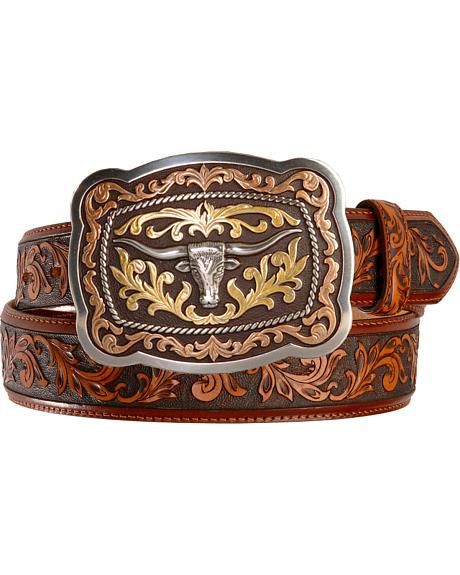 Tony Lama San Antonio Steerhead Buckle Tooled Leather Belt - Reg & Big