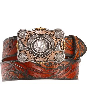 Dancing Feather Leather Western Belt