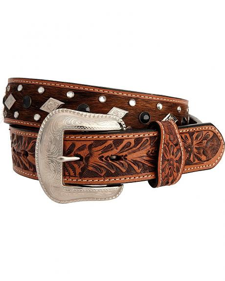 Hand Tooled Hair-on-Hide Leather Belt