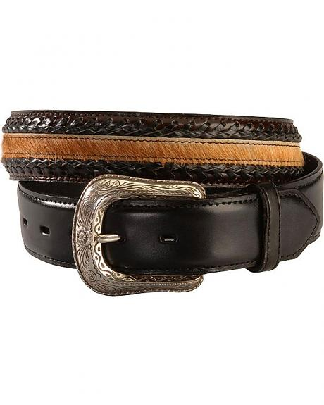 Braided with Hair on Hide Leather Belt