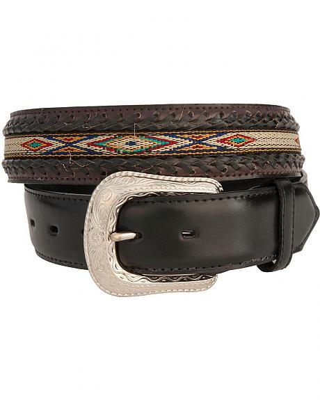 Braided with Hand Woven Aztec Design Leather Belt