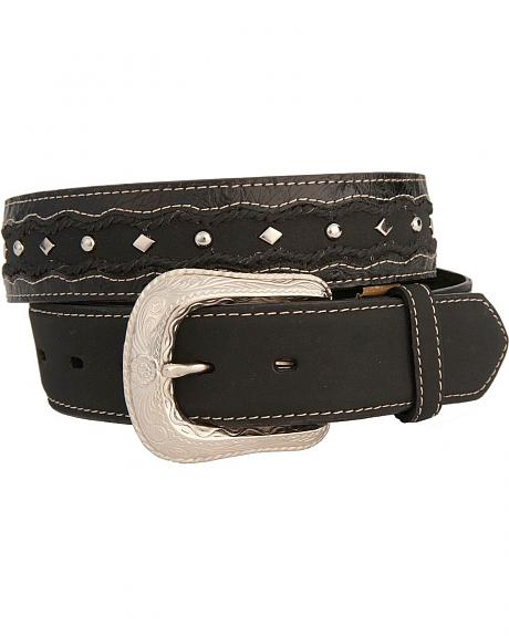 Scalloped Ostrich Print Leather Western Belt