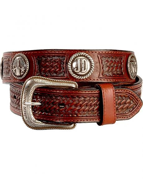 Jack Daniel's Initial Roped Concho Leather Belt