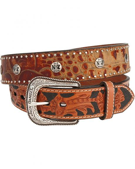 Jack Daniel's Faux Croc Print Hand Tooled Leather Belt