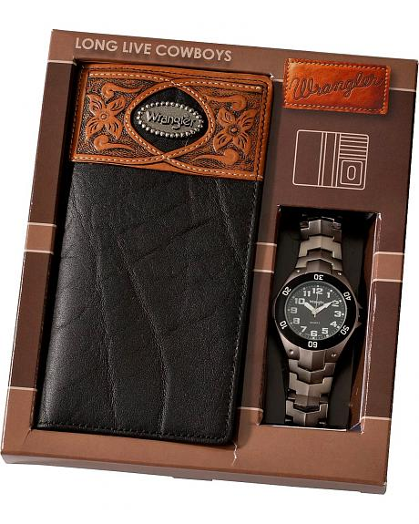 Wrangler Black Leather Checkbook Wallet & Watch Gift Set