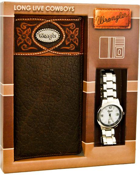 Wrangler Brown Leather Checkbook Wallet & Watch Gift Set