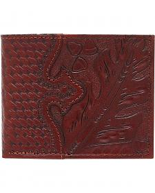American West Men's Hand Tooled Chocolate Leather Bi-Fold Wallet
