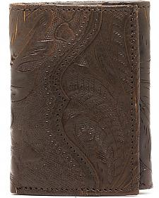 American West Hand Tooled Chocolate Leather Tri-Fold Wallet