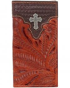 American West Men's Hand Tooled Cross Concho Leather Checkbook