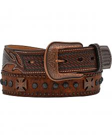 Vintage Ostrich Studded Cross & Concho Belt
