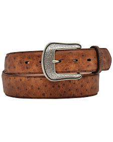 3D Vintage Ostrich Print Leather Belt