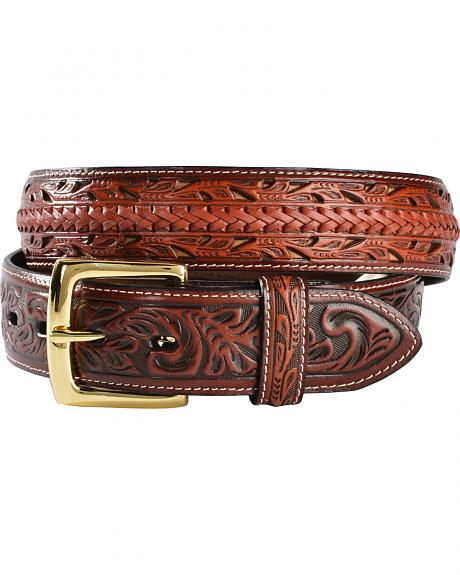 3D Tooled Filigree with Lacing Leather Belt