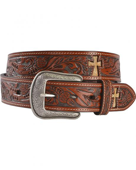 3D Hair-on-Hide Cross Inlay Tooled Leather Belt