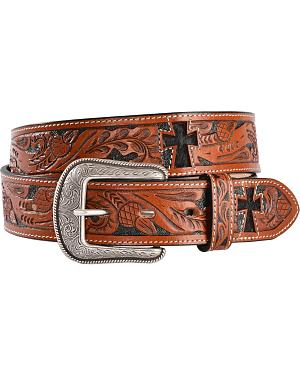 3D Hair-on-Hide Inlay Cross Tooled Leather Belt
