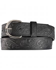 Silvercreek Black Hand Tooled Western Belt