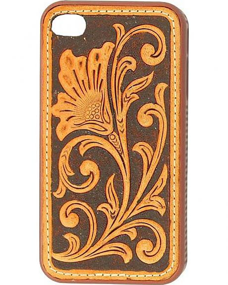Nocona Brown & Tan Tooled Floral Leather iPhone 4 & 4S Case