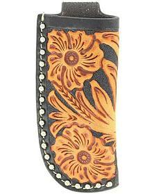 Nocona Floral Tooled Leather Knife Sheath