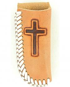 Nocona Embossed Cross Tan Leather Knife Sheath