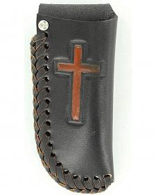 Nocona Embossed Cross Black Leather Knife Sheath